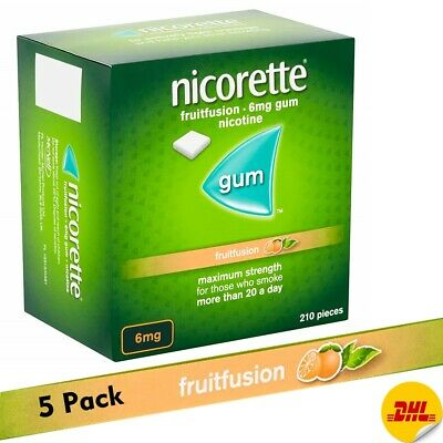 Nicorette Gum Fruitfusion 6mg 210  pieces  Pack of  5  (Expiry - March 2021)
