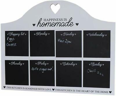 White Weekly Food Menu Planner Chalkboard Wall Hanging Kitchen Sign