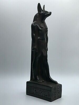 EGYPTIAN ANUBIS ANTIQUES Jackal Dog EGYPT PHARAOH STATUE CARVED Stone Black BC
