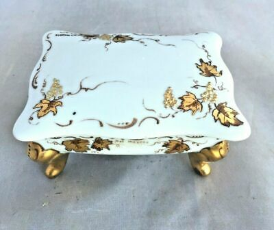 Vintage Vanity Porcelain White Gold Trinket Box