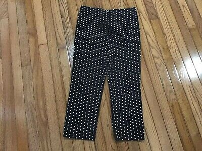 Chicos Cropped Pants SZ 00 Womens Side Zip Capris Brown Polka Dot Stretch (C1-14