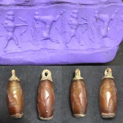 Super Old Agate Carnelian Cylinder Seal Ancient Animal Engraved Circa 200 BC G2
