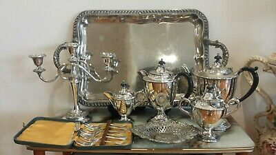 Vintage silver plated tea set with tray and candle holder ( 8 items )