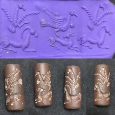 Lovely Sumerian Animal Engraved History Cylinder seal intaglio Stone