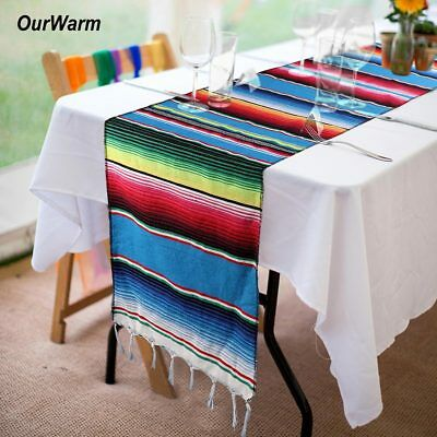 Wedding Mexican Serape Table Runner Cotton Fringe Tablecloth Party Table Decor