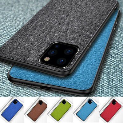 For Apple iPhone 11 Pro Max Hybrid Cloth Fabric+TPU Soft Ultra Slim Case Cover