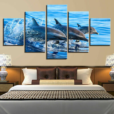 Seascape Blue Ocean Sea Dolphins Jumping Canvas Prints Painting Wall Art 5PCS