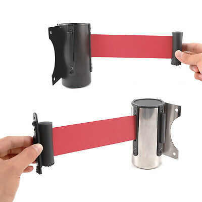 Stainless Steel Stanchion Queue Barrier Post Wall Mount Retractable Ribbon Belt