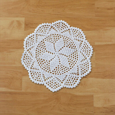 4Pcs White Hand Crochet Lace Doilies Cotton Doily Round Table Mats Wedding 12""