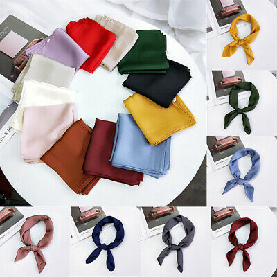 Color Small Vintage Hair Tie Band Women Square Scarf Silk Feel Satin Head Neck