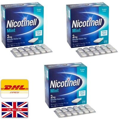 Nicotinell Mint 2mg Medicated Chewing Gum 204 Pieces  3 boxes exp= 04/2020
