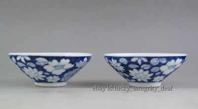Pair of Nice Chinese Old Blue and white flower Porcelain Teacups Cups