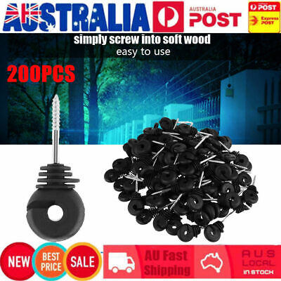 200X Screw On Electric Fence Ring Insulators Timber Wood Post Nail 95Mm