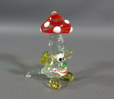 "1960's Italian Murano Blown Glass Funny Mushroom Polka Dot 2 3/8""Figurine Figure"