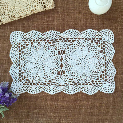 """White Vintage Doilies Hand Crochet Rectangle Lace Doily Table Runner Mat 10""""x17"""""""