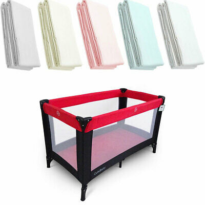 2x Travel Cot Fitted Sheets Deluxe Baby 100% Cotton 95x65cm