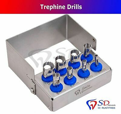 Dental Trephine Drills Kit 8 PCS Implant Surgical Dental Surgery Bur Holder NEW
