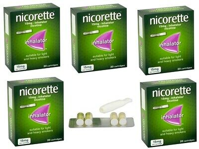 Nicorette 15mg Inhalator 20 cartridge Pack of 5 (Expiry - April 2022)