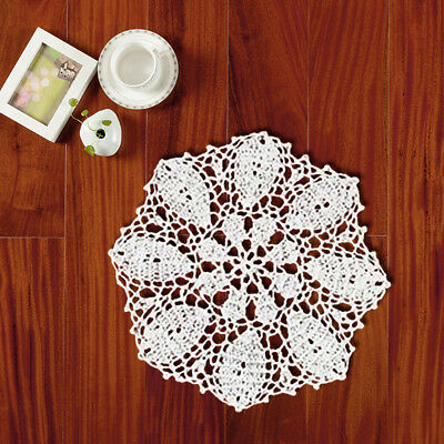 White Vintage Hand Crochet Lace Doily Cotton Placemat Table Mats Pad Wedding 10""