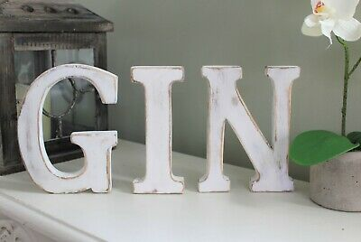 "Large Shabby Chic Vintage White Wooden Letters ""Gin"" Bar Gift Freestanding"