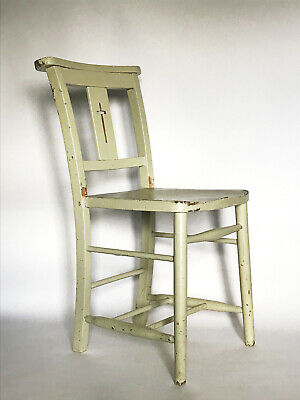 Vintage Chapel Church Chair Seat Distressed Shabby Chic Hand Painted Green Grey