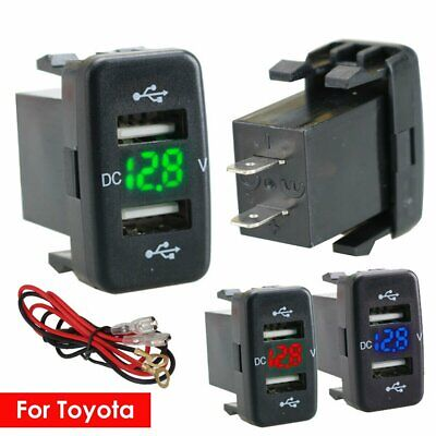 For Toyota Car Charger Adapter Twin Dual Double 2USB Port 12V Car Socket Lighter