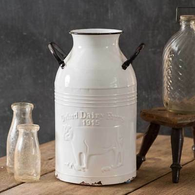 Decorative Farmhouse Style Oxford Dairy Farms Metal Milk Can Bottle Container
