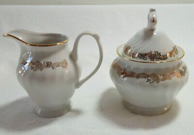 Fluted WHITE PORCELAIN ALBA IULIA ROMANIA Gilded Milk Jug & Lidded Sugar Bowl
