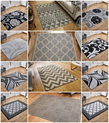 Small Extra Large Runner Silver Grey Floral Trellis Flat Weave Budget Area Rug