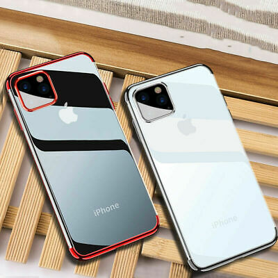 For Apple iPhone 11 Pro Max Shockproof Plating Clear Silicone Hybrid Case Cover