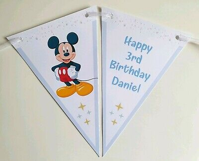 Personalised ☆ Mickey Mouse ☆ Birthday Bunting ☆ Any Name /& Age ☆ 12 Flags