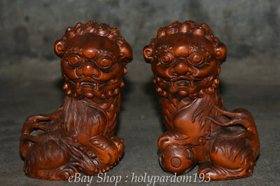 """5"""" Old Chinese Boxwood Wood Feng Shui Foo Fu Dog Guardion Lion Ball Statue Pair"""