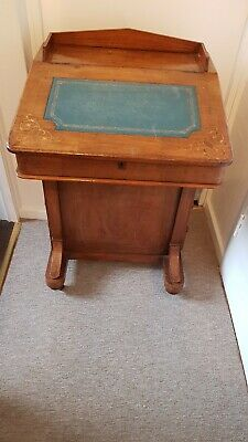 Antique Victorian mahogany Davenport green leather top desk