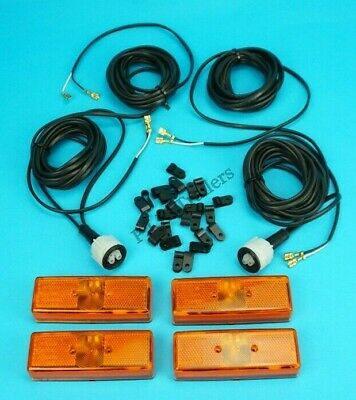 4 x AMBER Marker Lamp with 2 x 4m Plug In Wiring Harness & CLIPS for RADEX Lamps