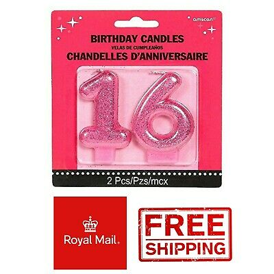 Sweet 16 Pink Glitter Candle 16th Birthday Party Cake Topper Celebration