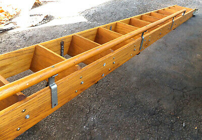 Antique Oak Putnam Rolling Library track Ladder Tiny House Loft Stairs vtg Ship