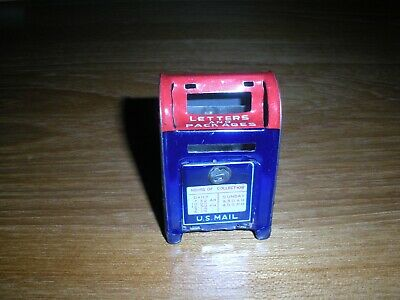 Vintage Tin Metal Mailbox Mail Letters & Packages Coin Bank Japan