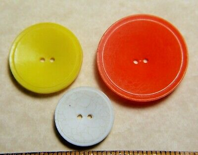 3 Vintage Colt Fire Arms Buttons #81 yellow orange white