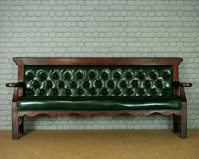 Antique Long Upholstered Waiting Room Seat c.1880.