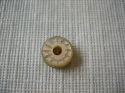 "Vintage Small 7/16"" MOP Mother Of Pearl Shell Button - Carved Whistle - PD97"