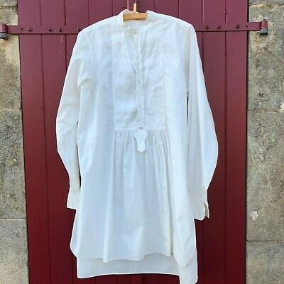 Antique Victorian French Men's White Cotton Dress Shirt Gathered Embroidered BM