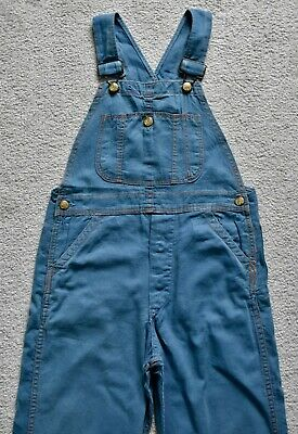 Vtg 60s SANFORIZED Blue Cotton Denim Bib Overalls Dungarees Work Retro W26 L24