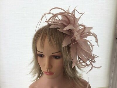 Blush Nude Pink   Feather  Fascinator- Wedding,Ascot,Accessories, Custom Made