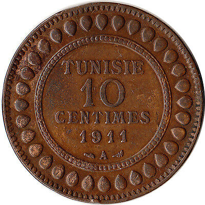 1911 (AH1329) Tunisia (French) 10 Centimes Coin KM#236 Mintage 500K