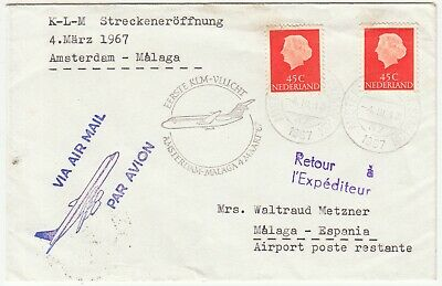 Netherlands; KLM First Flight Cover; Amsterdam to Malaga, 4 March 1967