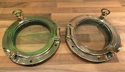 Pair of Original Vintage Brass Ships Portholes Maritime Marine Boat Nautical