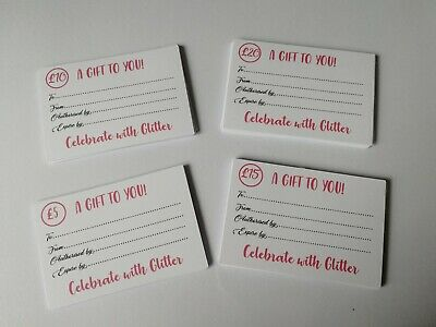 Small business gift vouchers/cards x50. Personalised