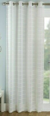 Textured Ivory Chenille Striped Pale Cream Eyelet Linen Voile Net Curtain Panel