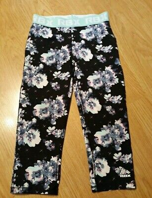 RBX Active Athletic Performance Floral Cropped Capri Leggings, size S 7/8