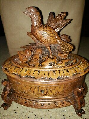 Antique German black forest wood carved bird jewelry box